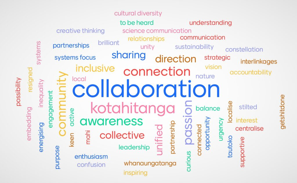 Word cloud, with collaboration the biggest word: What one word describes the wairua of your kōrero? A word cloud from the recent SDG Virtual Summit.
